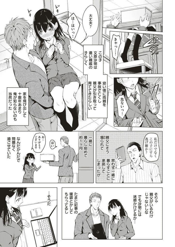 【初えっちエロ漫画】入院した父親の代わりに身寄りのない親戚JKと暮らすことに!寝ていたらキスされ処女初SEX!初めてなのに痛くないパターンでいちゃラブ!【タカシ】